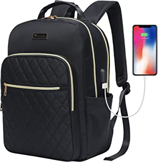 Modoker Women Laptop Backpack 15.6-Inch Laptop & Tablet, Quilted Slim Laptop Backpack for Business Work Travel with USB Ch...