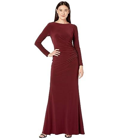 Adrianna Papell Draped Beaded Cowl Back Jersey Gown (Dark Burgundy) Women