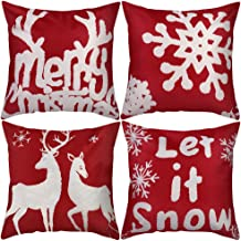 Christmas Throw Pillow Covers 18 x 18 Inches Set of 4, Snowflake Deer Elk Merry Christmas Decorative Square Pillowcase Cushion Cover for Couch Sofa, Red
