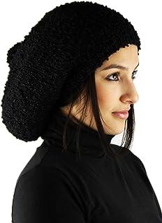 Knitted 100% by Hand ALPACA Rasta Hat - Black Luxury II (MEDIUM)