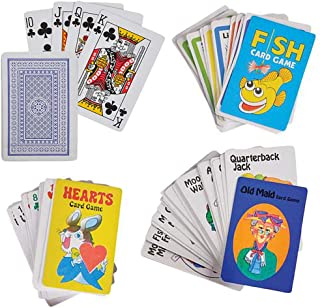 Jenna & Bree 4 Kids Card Games Set   Old Maid, Go Fish, Hearts and Standard Deck Playing Cards   Classic Plastic Coated 2.25 x 3.5 for Children