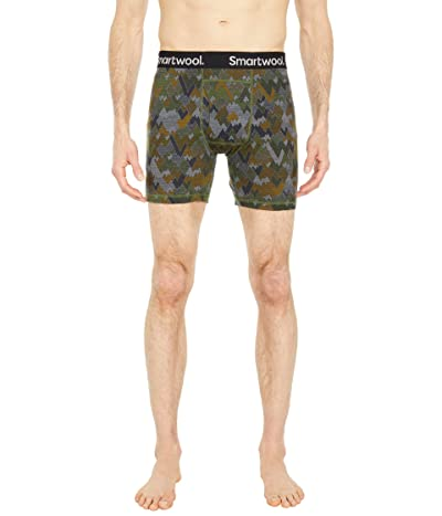 Smartwool Merino 150 Print Boxer Brief (Military Olive Mountains For Days Print) Men