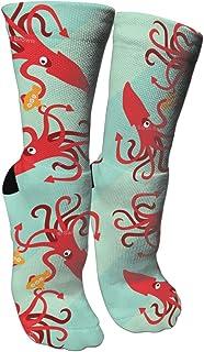 靴下 抗菌防臭 ソックス ジャイアントイカは潜水艦スポーツスポーツソックス、旅行&フライトソックス、塗装アートファニーソックス30 cmロング靴下を食べる