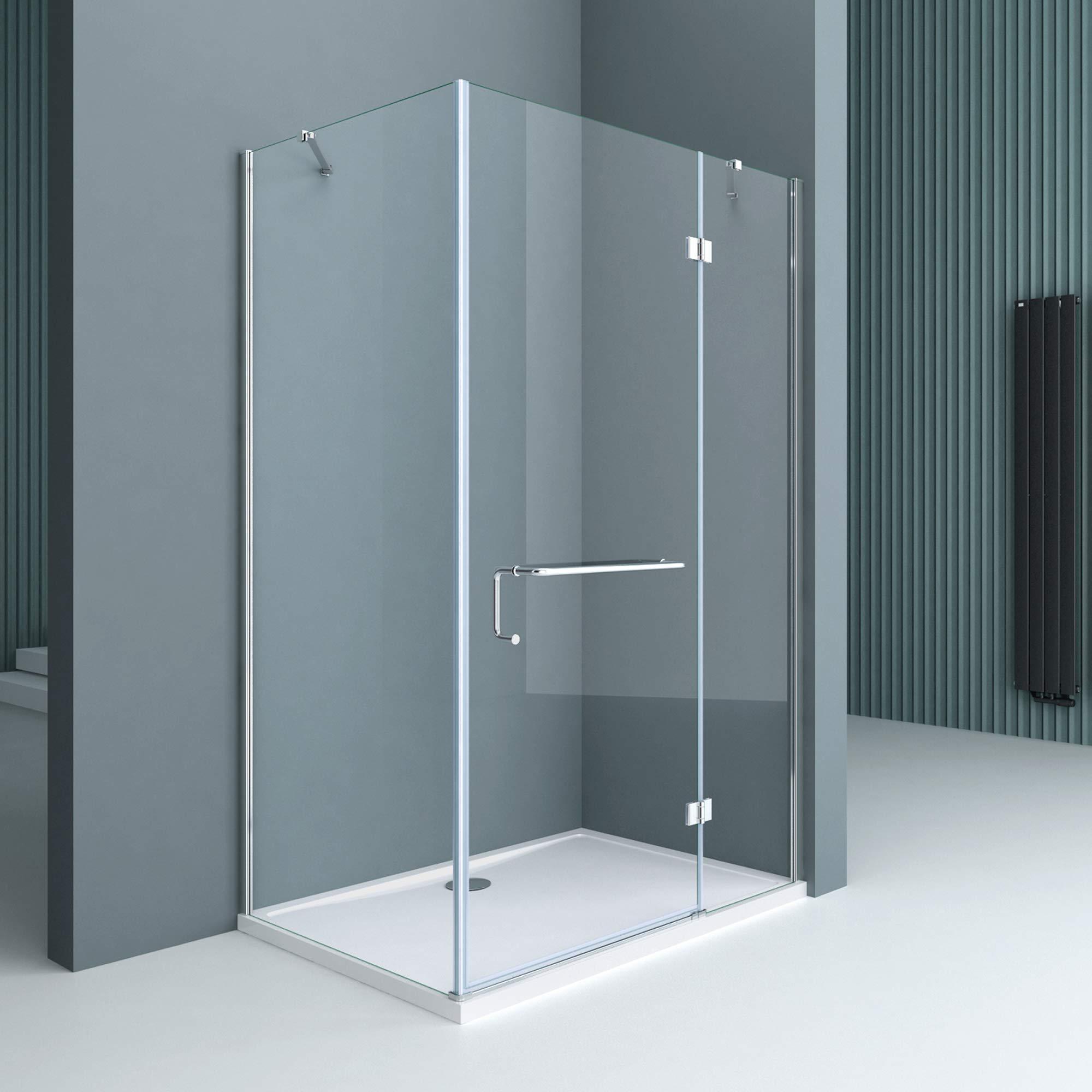Sogood Cabina de ducha esquinera Rav04K 100x90x190cm, mampara de vidrio de seguridad templado transparente | Con plato de ducha plano 4cm en blanco: Amazon.es: Bricolaje y herramientas