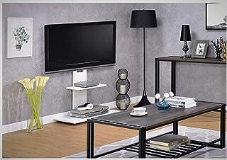 Goldline-UK Height Adjustable TV Stand fit 32â  â  -65 inch Floor TV Bracket with 2 AV Shelf Display for Living Room Bedroom Office (Square Small, White)