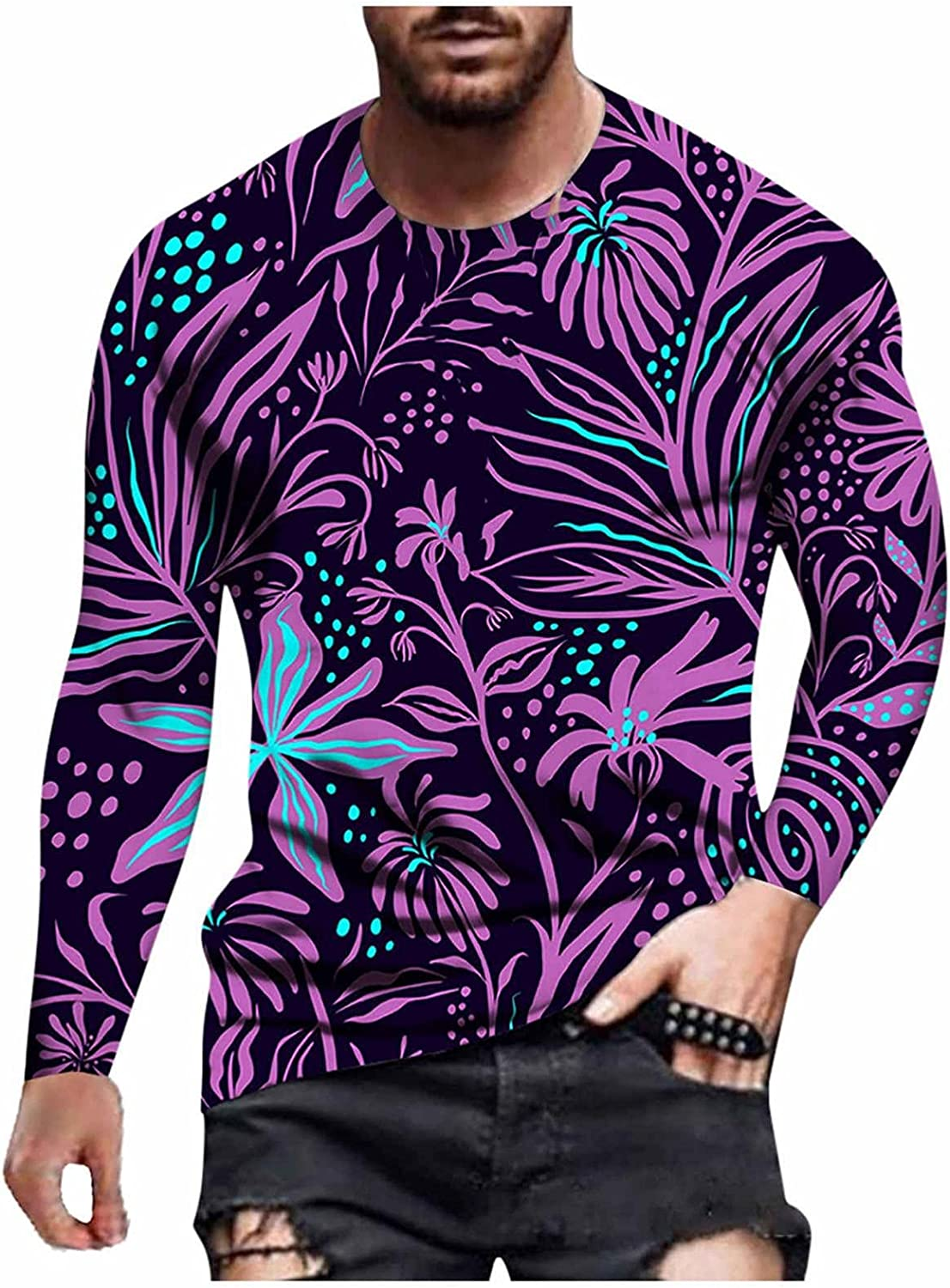 WUAI-Men Casual Long Sleeve Cotton Shirts Crewneck Funny 3D Printed Slim Fit Graphic Tee Outdoor Athletic Muscle Tops