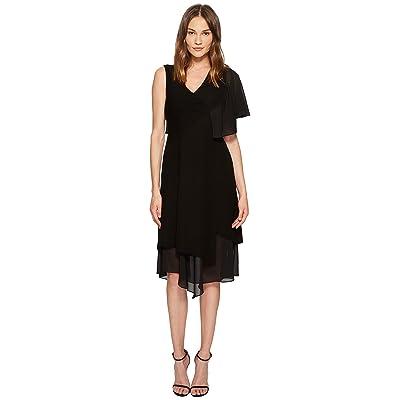 YIGAL AZROUEL Asymmetric Ruffle Sleeveless Dress (Jet Optic) Women