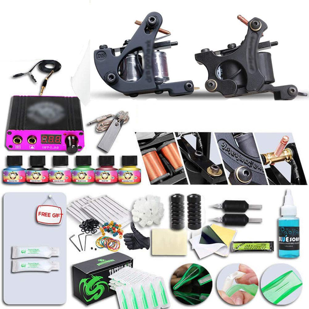 Professional Complete Free shipping anywhere in 2021 spring and summer new the nation Tattoo Kit 2 Top Machine 6 Color Ink Gun