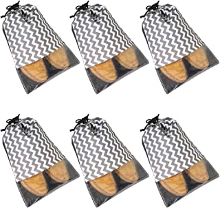 Amazon Brand - Solimo Fabric Shoe Pouch with String, Waves, Set of 6