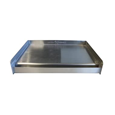 Sizzle-Q SQ180 100% Stainless Steel Universal Griddle with Even Heating Cross Bracing for Charcoal/Gas Grills, Camping, Tailgating, and Parties (18 x13 x3 )