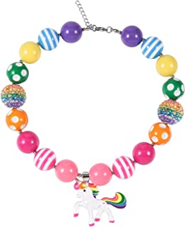 Chunky Bubblegum Necklace Colorful Unicorn Fashion Beads with Gift Box for Baby Girls