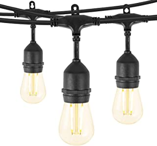 Minetom 48Ft LED Outdoor String Lights with 15 Shatterproof Energy Saving Bulbs, UL Listed Commercial Grade Connectable Weatherproof Strand for Patio Deck Backyard Garden Wedding, Black Cord, 2700K
