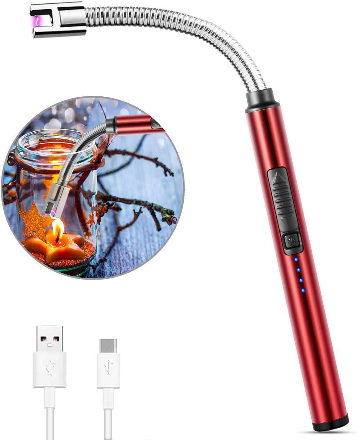 MOSUO Encendedor Electrico, Mechero de Arco Electrico USB Recargable, Cuello Largo 360° Flexible Sin Llama ni Olor, Interruptor de Seguridad, para Cocina Barbacoa Velas Fuegos Artificiales, Rojo