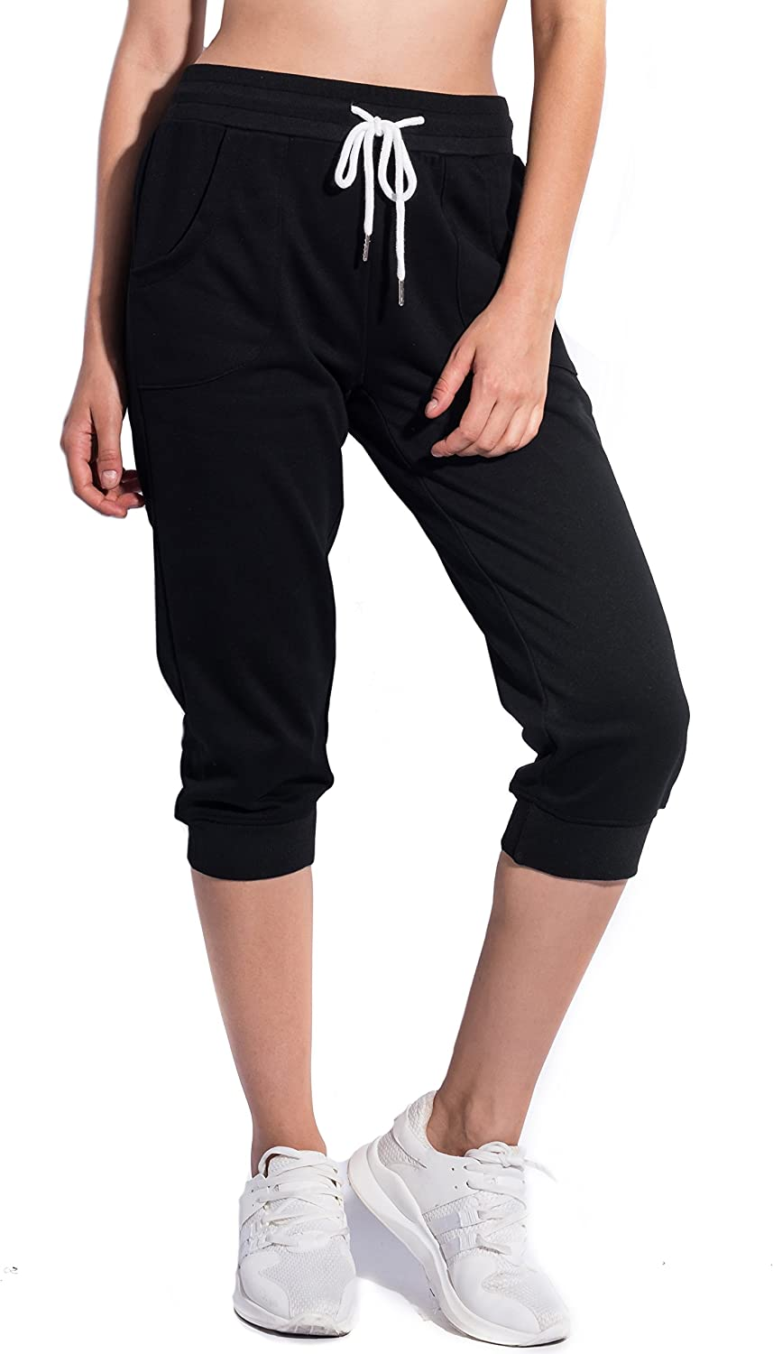 SPECIAL MAGIC Women's Cropped Cotton Jersey Jogger Sweatpants with Drawstring and Pockets Black S