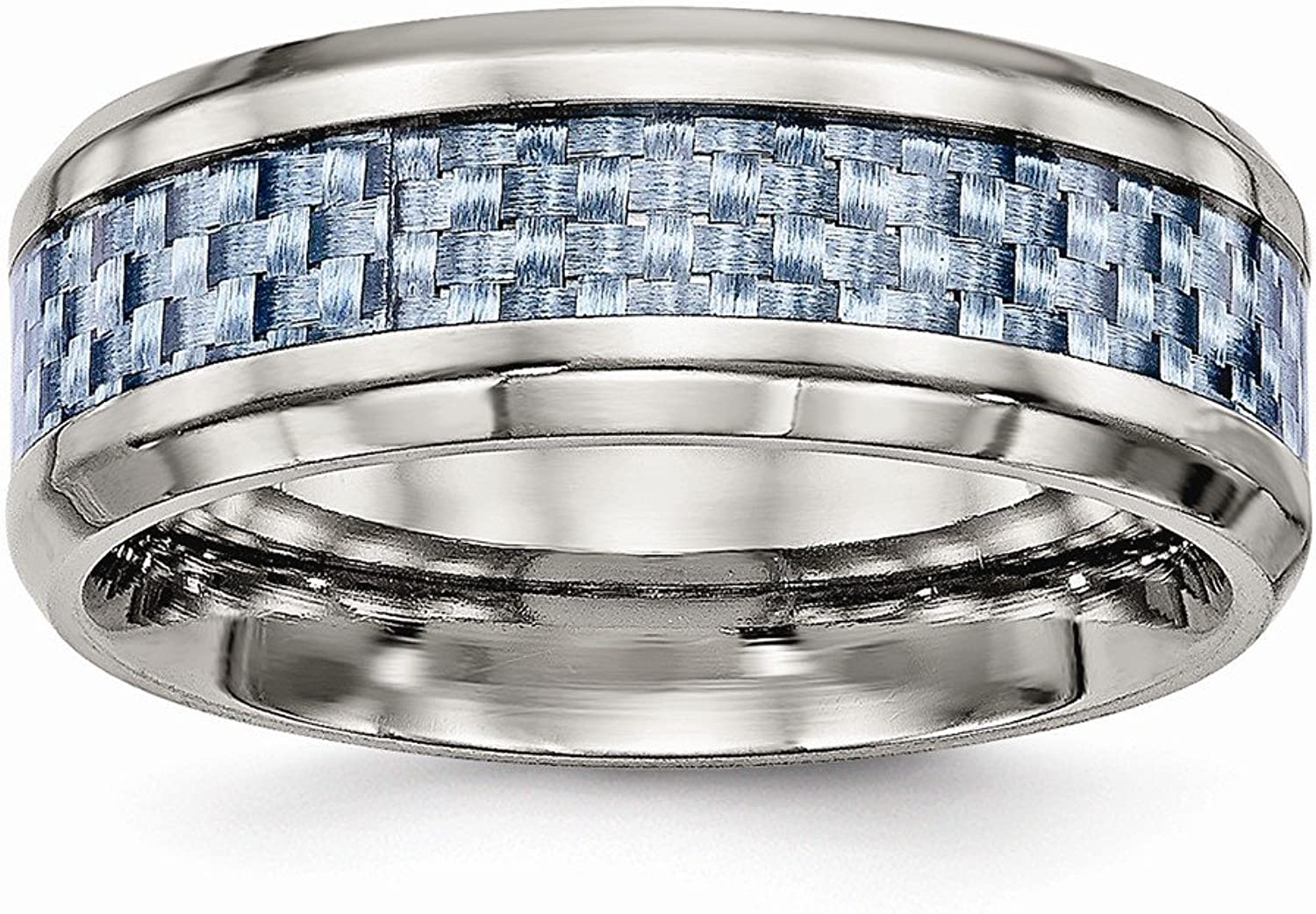 Stainless Steel bluee Carbon Fiber Inlay Ring