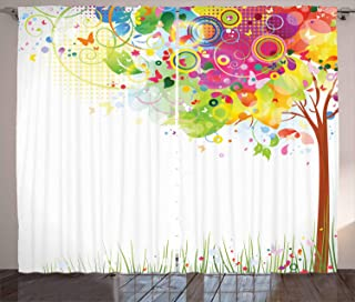 Ambesonne Tree Curtains, Color Bursting Tree of Life Colorful Pastoral Creative Design Modern Style Art Print, Living Room Bedroom Window Drapes 2 Panel Set, 108