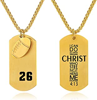 Men's Football Player Number 26 Stainless Steel Cross Dog Tag Pendant I Can Do All Things Bible Verse Necklace