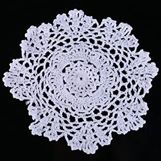 puhoon Coasters, 20cm Round Cup Coasters Vintage Cotton Handmade Crochet Flower Lace Doily, Eco-Friendly, Reusable, Table Decoration for Home Bar Cafe, Kitchen Accessories (White)