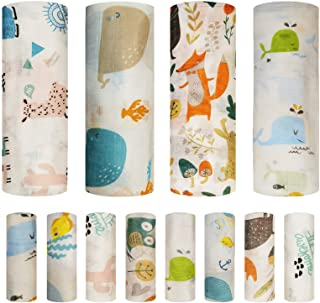Baby Swaddle Blanket and Washcloths Set,12 Pieces Muslin Bamboo Baby Swaddle Wrap and Wash Cloths Unisex for Boys and Girl...
