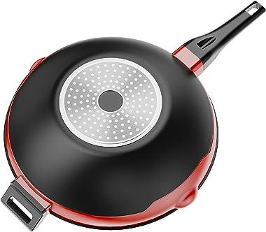 Hayden Classic Wok Stir Fry Pan, with Silicon Toughened Glass Lid, Aluminium Die Cast, Titanium Non-Stick PFOA Free Coating,