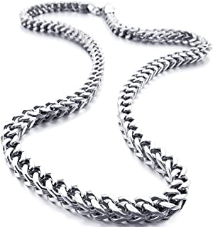 Men's 6mm Wide Stainless Steel Necklace Curb Chain Link Silver Tone