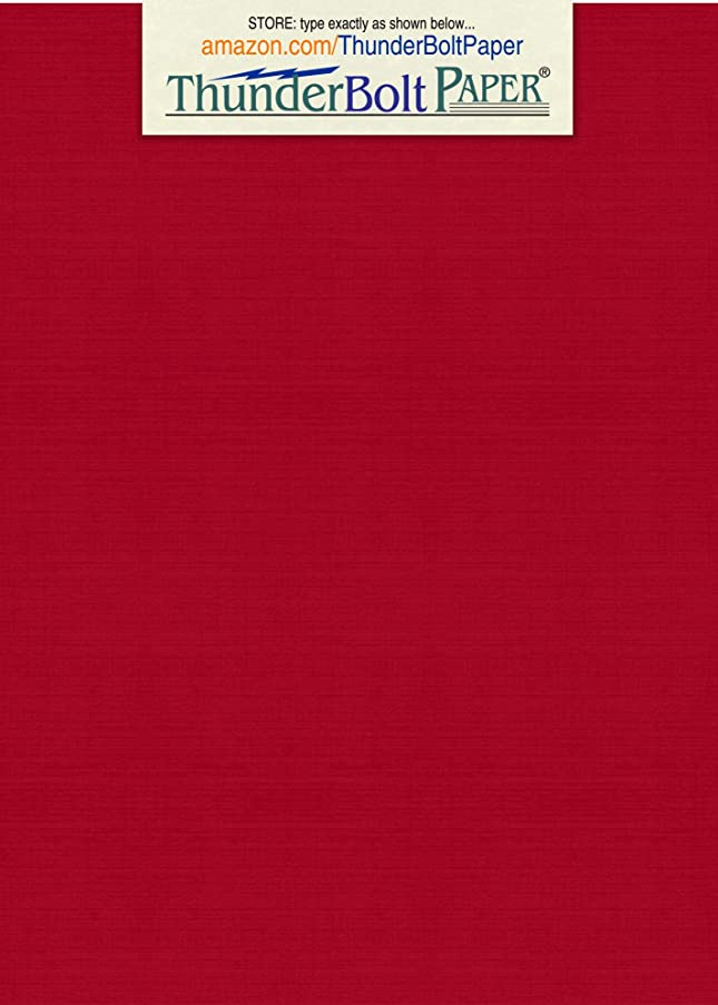 150 Deep Bright Red Linen 80# Cover Paper Sheets - 5