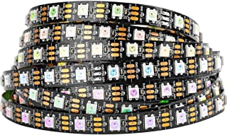BTF-LIGHTING WS2812b 5m 60leds/Pixels/m Flexible Black PCB Individually Addressable Led Strip Dream Color Non-Waterproof DC5V 16.4ft