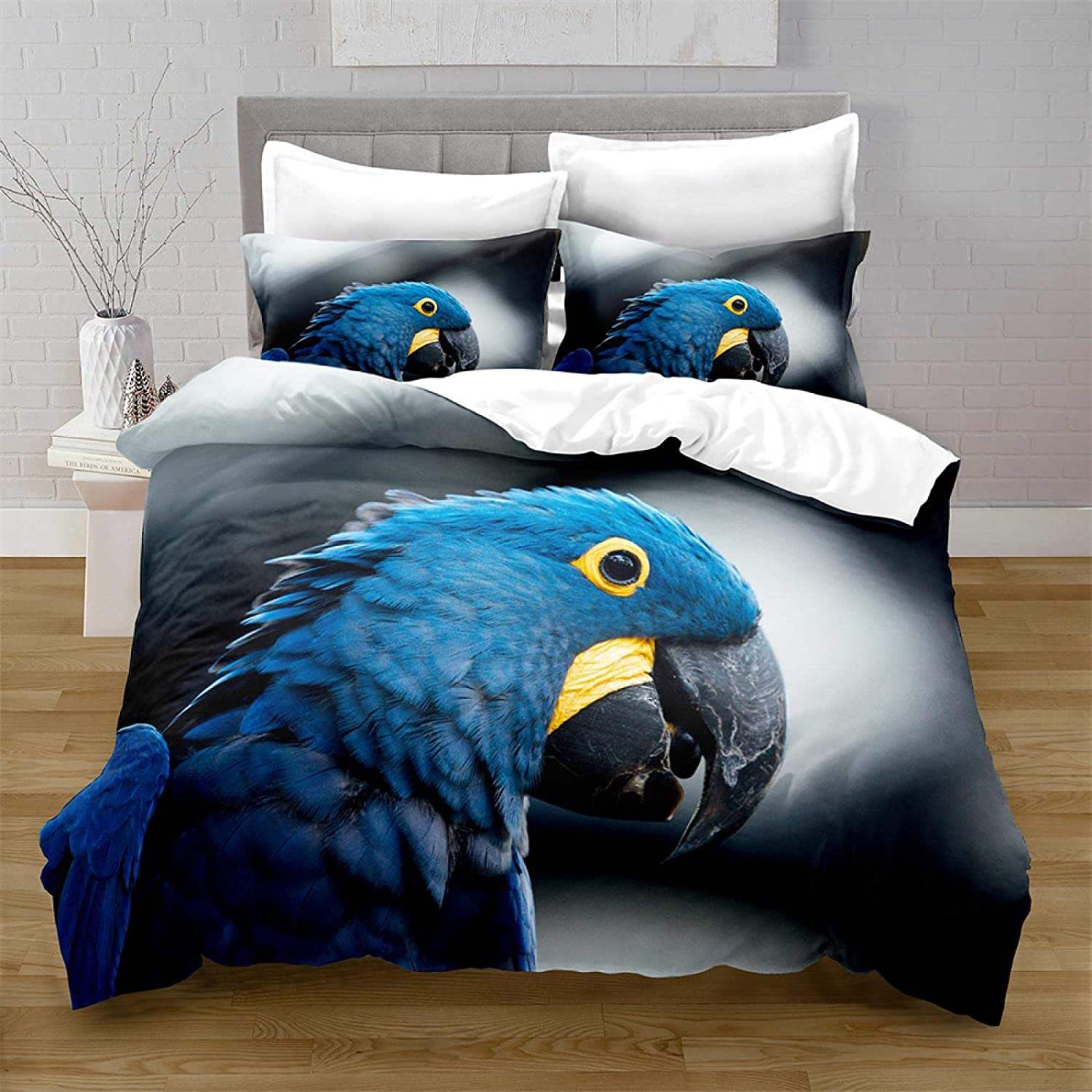HQHM Duvet Cover King Online limited product 3 Factory outlet Blue Three-Dimensio Animal Parrot Pieces