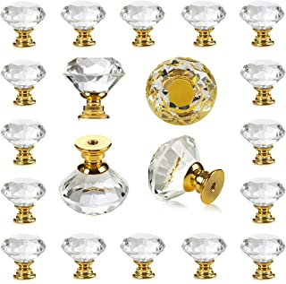 25 pcs Crystal Glass Golden Drawer Pulls Decorative Knobs for Kitchen Bathroom Cabinet, Dresser and Cupboard by DeElf