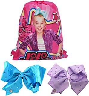 JoJo Siwa Large Rhinestones Bows (Turquoise & Purple) Hair Clips & Sling Bag