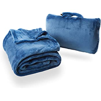 Cabeau Fold 'n Go Travel and Throw Blanket Plus Compact Case - For Home and Travel - Doubles as Lumbar Pillow and Neck Support Pillow - French Microfiber Comfort - Blue