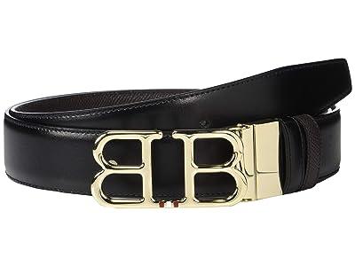 Bally Adjustable/Reversible Double B Belt (Black/Chocolate) Men