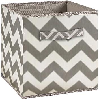 Compo - Caja de almacenaje con asa de Tela, 27 x 27 x 28 cm, Color Gris y Blanco: Amazon.es: Hogar
