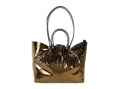 AllSaints Allington Small East/West Tote (Gold) Handbags