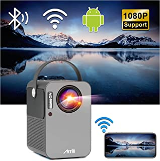 Smart Projector Android TV 9.0, Artlii Play WiFi Bluetooth Projector, Native 1080p Full HD Supported, Stereo Sound, 4D±45°...