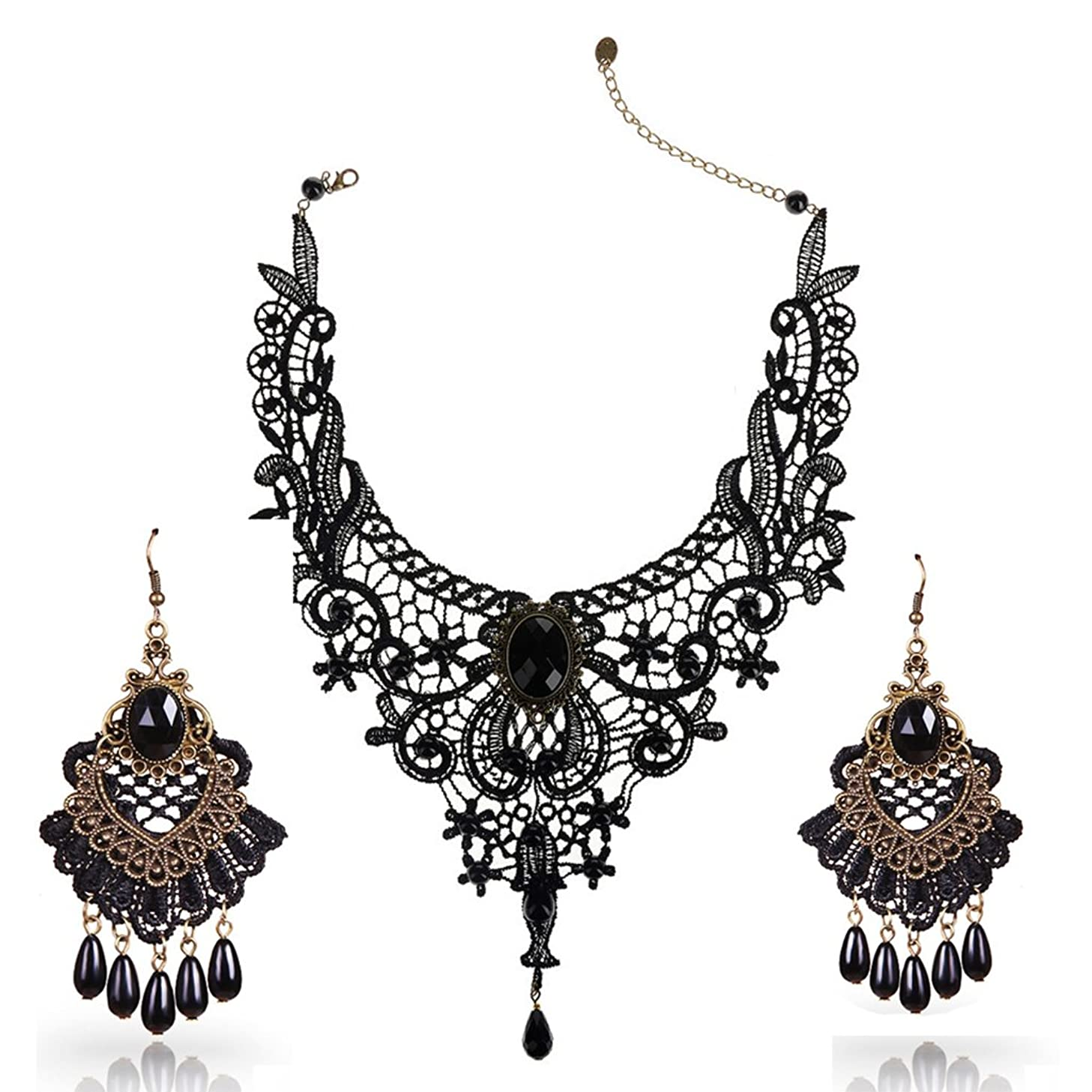 Youniker Choker Necklace for Women Gothic Black Lace Necklace Earrings Sets for Halloween Costume Party Punk Vintage Lolita Choker Pendant Chain