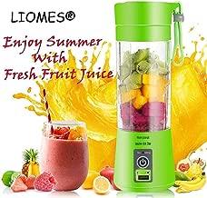 LIOMES Portable USB Electric Blender Juicer Cup Plastic Fruit Juicer Grinder 380ml Juice Blender Fruit Juicer Cup Bottle (Multicolour)