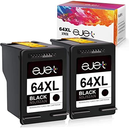 ejet Remanufactured Ink Cartridge Replacement for HP 64 XL 64XL Black to use with Envy Photo 7858 7855 7155 6255 6252 7120 6232 7158 7164 Printer (2 Black)
