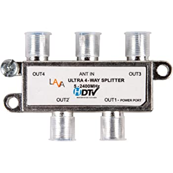 Lava 4 Way High Performance Coax Cable Splitter, 5-2400 MHz, Rg6 Compatible, Works with HDTv, Satellite, High Speed Internet, Amplifier, Antenna