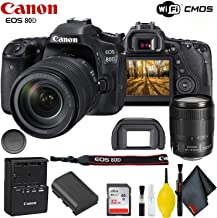 Canon EOS 80D DSLR Camera with 18-135mm Lens Accessory Bundle w/Cleaning Kit