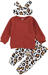 Sponsored Ad - Cute Baby Girl Long Sleeve Pullover Sweater Top + Leopard Pants Leggings and Headband Fall Winter Clothes