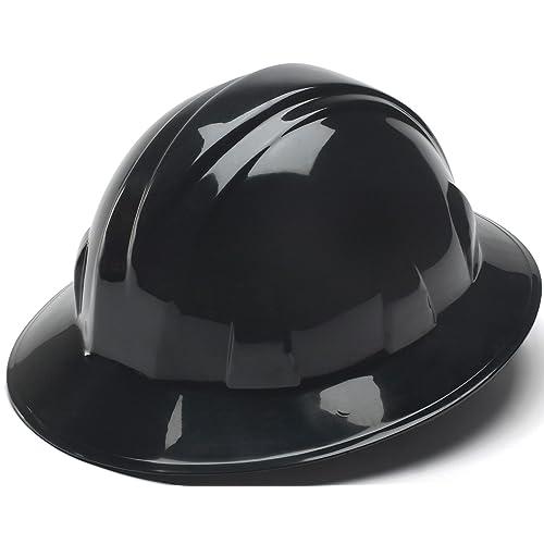 Pyramex Black Full Brim Hard Hat with 4pt Ratchet Suspenison