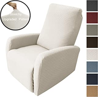 Obytex Recliner Cover High Stretch 4-Piece Premium Slipcovers Furniture Protectors Recliner Chair Cover (Recliner, Cream)