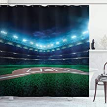 Ambesonne Baseball Shower Curtain, Professional Baseball Field at Night Vibrant Playground Stadium League Theme Print, Cloth Fabric Bathroom Decor Set with Hooks, 84 Long Extra, Green Blue