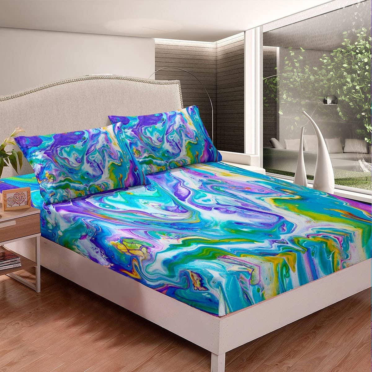 Erosebridal Marble Fitted Bed Sheets New mail order Blue Green Tie Sales Dye Bedding
