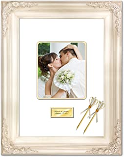 Personalized Engraved Wedding Anniversary Photo 20x24 Signature Frame Wedding Guest Wishes 8x10 Autograph Retirement Engagement Picture Matted Frames White Milan Raised Floral
