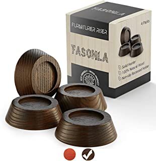 FASONLA Furniture Risers, Solid Natural Wood Risers for 4 Bed Risers, Furniture Risers, Table Risers, Sofa/Chair Risers- Add Height with Non-Slip Recessed Hole to Heavy Furniture (Walnut Color, 0.8