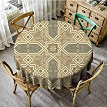 Banquet Round Tablecloth Tiles Geometric,Classic Mexican Tile Traditional Greek and Oriental Pattern Stars Paisley Trellis Themed Design,Beige Gray Dinning Tabletop Decoration Diameter 36