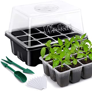 """Wrexat 10 Pack Seed Trays Seedling Starter Tray- Humidity Adjustable with Dome, Transparent Covers Height 3.3"""", Mini Propa..."""