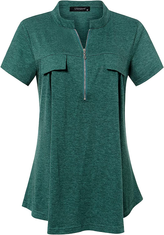 Women's Zip V-Neck Fashion Short Sleeve Pocket Cover I-Fold Tunic Shirt